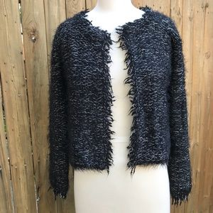 1. State Flecked Raw Edge Tweed Cardigan Sweater